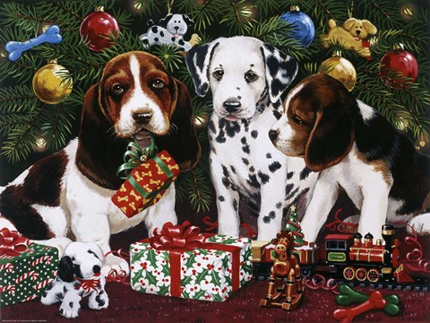 Framed Christmas Puppies 2 Print