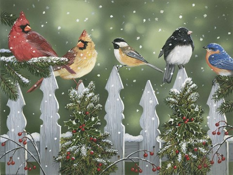 Framed Winter Birds on a Snowy Fence Print