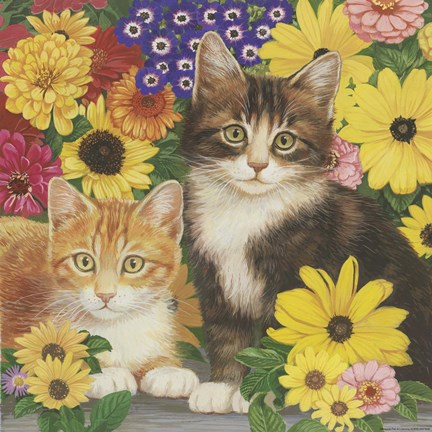 Framed Kitties And Flowers Print
