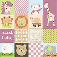 Baby Girl Animal Quilt  Fine Art Print