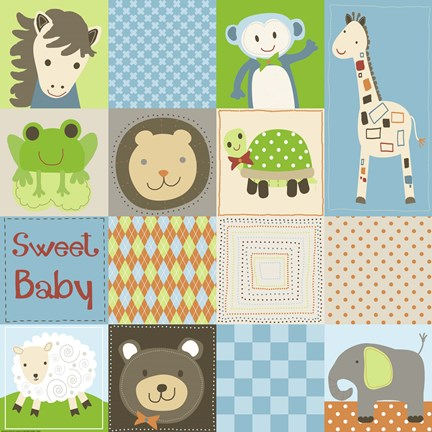 Framed Baby Boy Animal Quilt Print