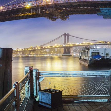 Framed Brooklyn Bridge Pano 2 3 of 3 Print