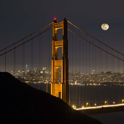 Framed Golden Gate and Moon Print