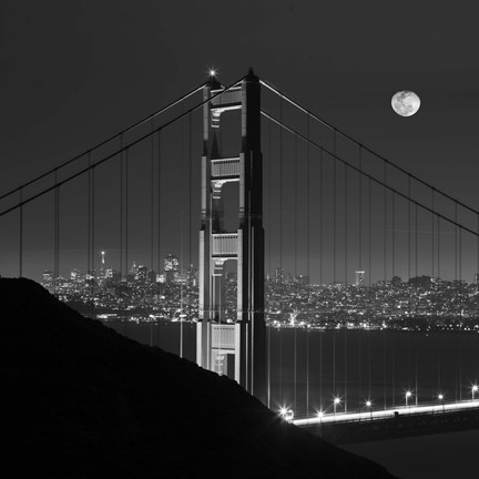 Framed Golden Gate and Moon BW Print