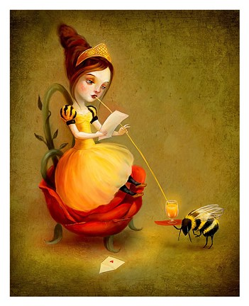 Framed Queen Bee Reads a Love Letter Print
