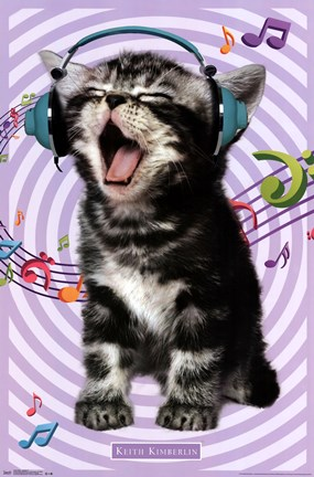 Framed Kitten - Singing 14 Print