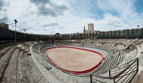 Framed Ancient amphitheater in a city, Arles Amphitheatre, Arles, Bouches-Du-Rhone, Provence-Alpes-Cote d'Azur, France Print