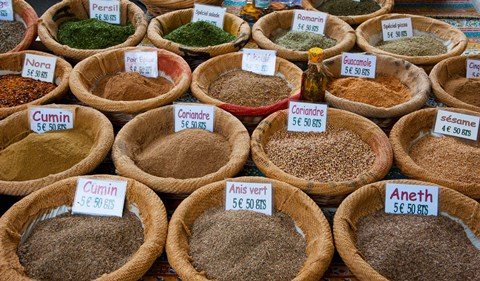 Framed Spices for Sale in a Weekly Market, Arles, Bouches-Du-Rhone, Provence-Alpes-Cote d'Azur, France Print