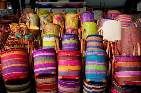 Framed Baskets for sale in a market, Lourmarin, Vaucluse, Provence-Alpes-Cote d'Azur, France Print