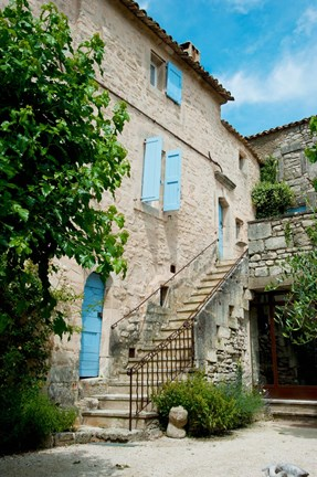 Framed Staircase of an old house, Lacoste, Vaucluse, Provence-Alpes-Cote d'Azur, France Print