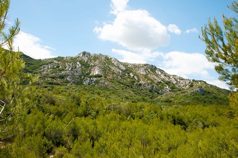Framed Low angle view of mountains, Alpilles, D25, Eyguieres, Bouches-Du-Rhone, Provence-Alpes-Cote d'Azur, France Print