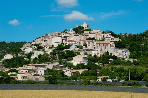 Framed Town on a hill, D51, Sault, Vaucluse, Provence-Alpes-Cote d'Azur, France Print