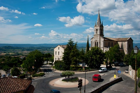 Framed High angle view of a church, Bonnieux, Vaucluse, Provence-Alpes-Cote d'Azur, France Print
