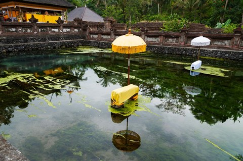 Framed Covered stones with umbrella in ritual pool at holy spring temple, Tirta Empul Temple, Tampaksiring, Bali, Indonesia Print
