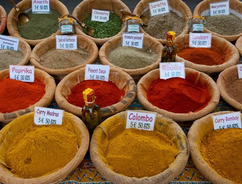 Framed Colorful Spices for Sale in Arles, Bouches-Du-Rhone, Provence-Alpes-Cote d'Azur, France Print