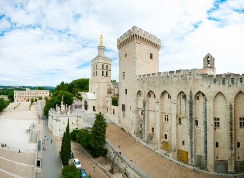 Framed Buildings in a city, Cathedrale Notre-Dame des Doms d'Avignon, Palais des Papes, Provence-Alpes-Cote d'Azur, France Print