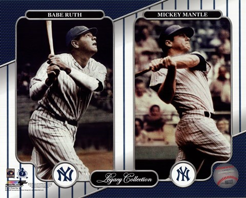 Framed NY Yankees Legacy Collection #3 Babe Ruth & Mickey Mantle Print