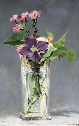 Framed Pinks and Clematis in a Crystal Vase, c.1882 Print