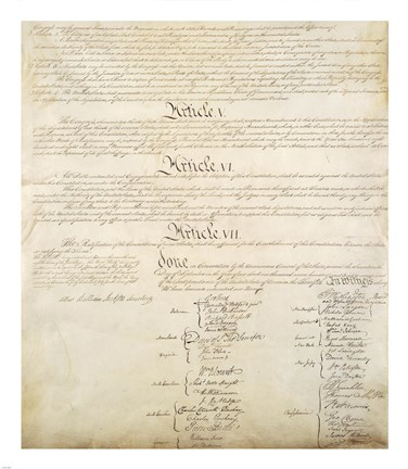 Framed Constitution of the United States IV Print