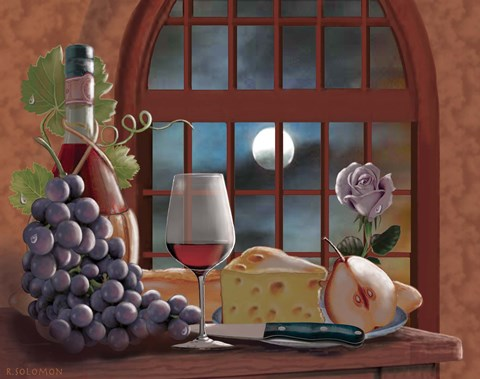 Framed Chianti By Moonlight Print