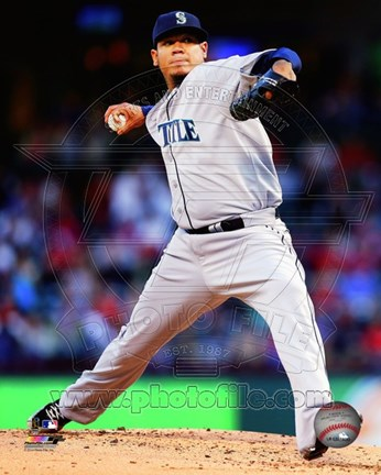 Framed Felix Hernandez 2014 in Action Print