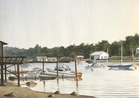 Framed Boats At Low Tide Print