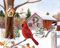 Cardinal, Chickadee & Christmas Barn  Fine Art Print