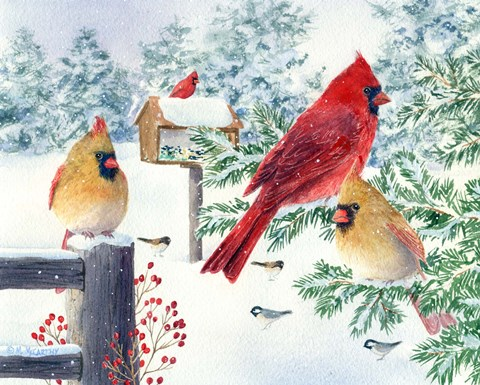 Framed Cardinals In Snow Flurry Print