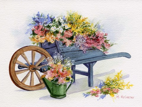 Framed Flower Cart Print