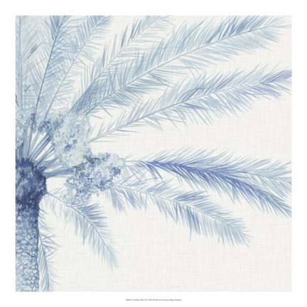 Framed Chambray Palms II Print