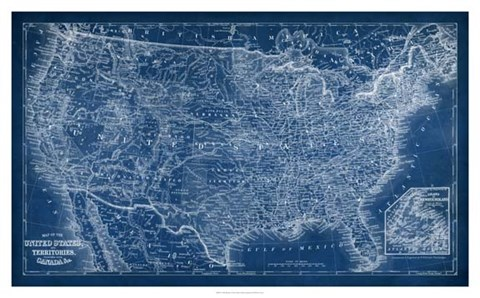Framed US Map Blueprint Print