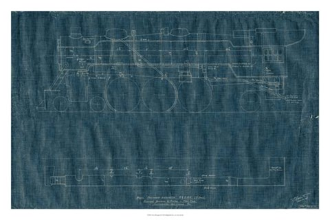 Framed Train Blueprint II Print