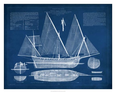 Framed Antique Ship Blueprint III Print