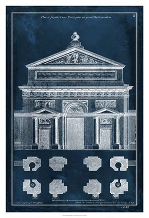 Framed Palace Facade Blueprint I Print
