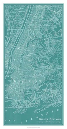 Framed Graphic Map of New York Print