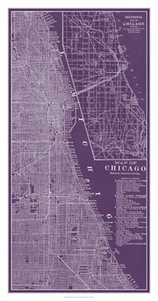 Framed Graphic Map of Chicago Print