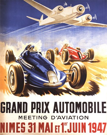 Framed Grand Prix Automobile Nimes Print