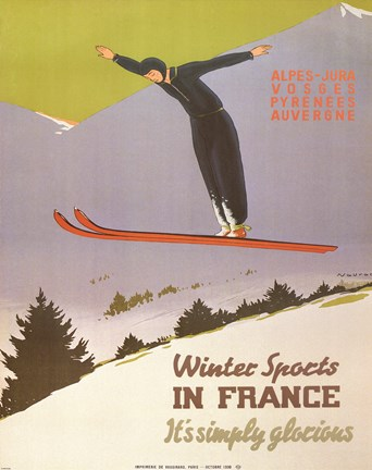 Framed Winter Sports in France Print