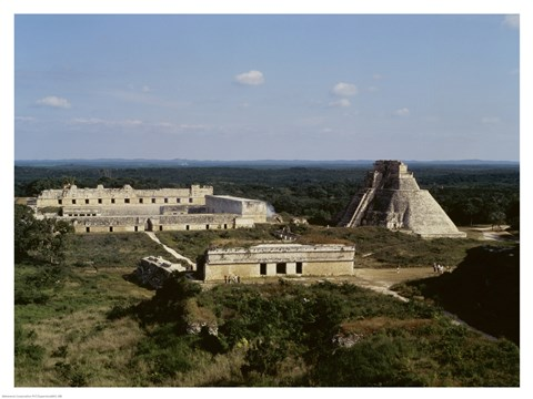 Framed Pyramid of the Magician, Nunnery Quadrangle, Uxmal Print
