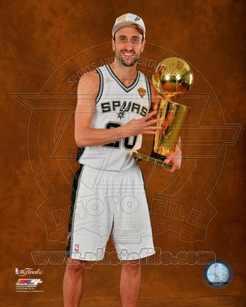 Framed Manu Ginobili with the NBA Championship Trophy Game 2014 Print