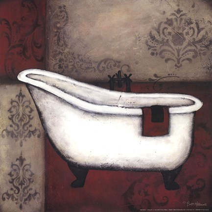 Framed Red Bath I Print