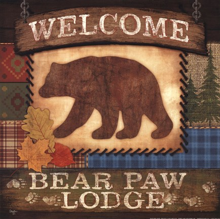 Framed Welcome Bear Paw Lodge Print