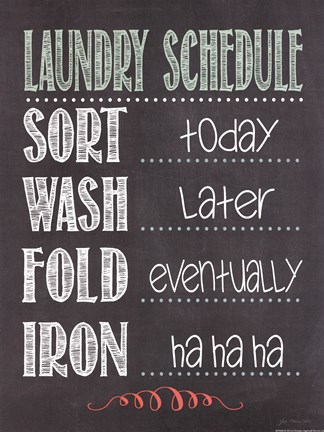 Framed Laundry Schedule Print