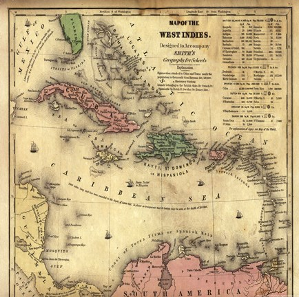 Framed Map of West Indies Print