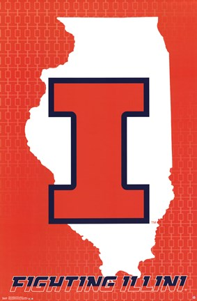 Framed University of Illinois - Logo 14 Print