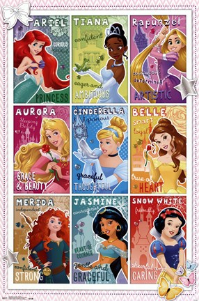 Framed Disney Princess - Grid 2014 Print