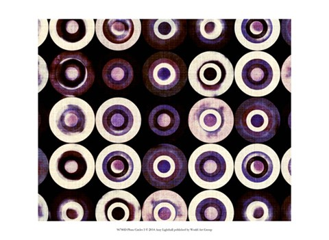 Framed Plum Circles I Print