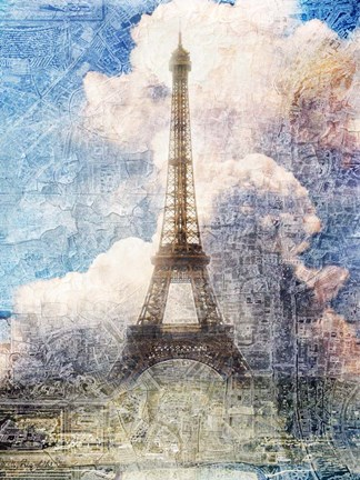 Framed Distressed Eiffel Tower Print