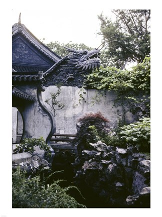 Framed Garden with Dragon on Temple Wall Shanghai, China Print