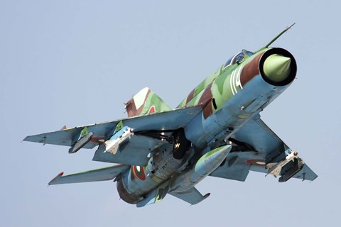 Framed MiG-21bis taking off armed with AA-8 Aphid air-to-air missiles Print
